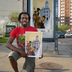"""1. """"Kiosk, Syracuse Poster Project.jpeg"""" Kerff Petit-Frere, Syracuse University art student, Class of 2011, with poster based on poem by Nancy Liccione, of Clay."""