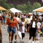 Crowds enjoy walking the fairgrounds