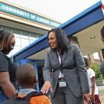 Syracuse City School District Superintendent Sharon Contreras visited a kindergarten class at the Syracuse Latin School