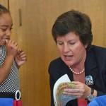 Syracuse Mayor Stephanie Miner visiting a kindergarten class at the Syracuse Latin School