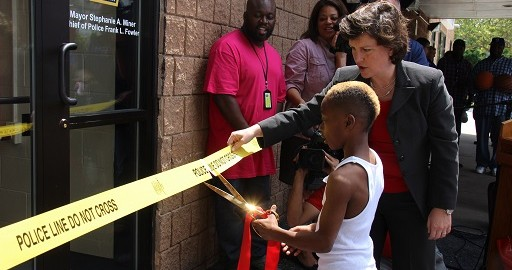 Mayor Miner and neighborhood children participated in the ribbon cutting for the new SW Center Police Storefront. New Police Storefront is the Third Location Opened During the Miner Administration