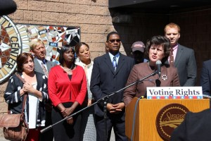 Mayor Stephanie A. Miner with activists and local elected officials in front of the Southwest Community Center