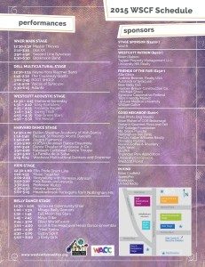 """Westcott Cultural Fair Entertainment Schedule, """"click"""" on image to enlarge"""