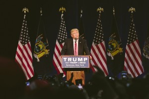 Trump at the podium during his Syracuse Rally. photo by Amelia Beamish