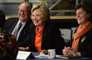 Presidential candidate Hillary Clinton held a manufacturing roundtable at the Institute of Technology at Syracuse Central with Syracuse Mayor Stephanie Miner and leaders of local industry. Photo by John Berry